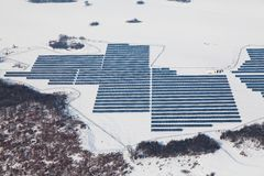 Aerial photo of solar power plant Royalty Free Stock Images