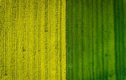 Aerial photo of some agricultural fields. Stock Photos