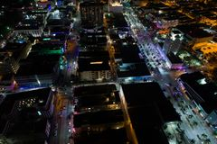 Aerial night scene South Beach Miami Florida Royalty Free Stock Image