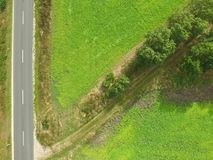 Abstract aerial photo, road with diagonally branching path with. Aerial photo, street on the left side of the picture, diagonally branching path with trees on a stock images