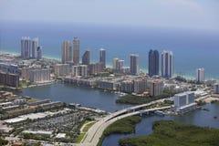 Aerial photo Sunny Isles Beach Florida. Aerial image of Sunny Isles Beach Florida shot from a helicopter Stock Images