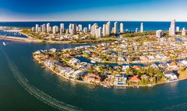 Aerial photo of Surfers Paradise and Southport on the Gold Coast Royalty Free Stock Photos