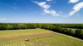 Aerial photo of a tractor in a vineyard royalty free stock images