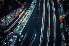 Aerial Photo of Train Station during Night Hours Royalty Free Stock Photos