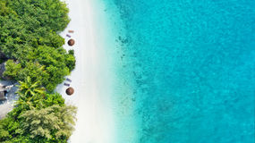Aerial photo of tropical Maldives beach on island. Aerial photo of beautiful paradise Maldives tropical beach on island. Summer and travel vacation concept Royalty Free Stock Image