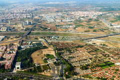 Aerial Photo Of Valencia City Surrounding Areas In Spain Royalty Free Stock Photography