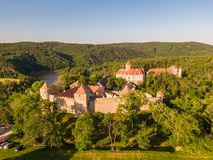 Aerial photo of Veveri castle near Brno city. South Moravia region, surrounded by river Svratka. Summer day with blue sky, sunset royalty free stock images