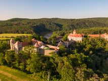 Aerial photo of Veveri castle near Brno city. South Moravia region, surrounded by river Svratka. Summer day with blue sky, sunset stock images