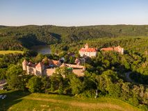 Aerial photo of Veveri castle near Brno city. South Moravia region, surrounded by river Svratka. Summer day with blue sky, sunset stock photo