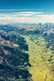Aerial photo view over green valley Royalty Free Stock Photography