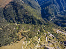 Aerial photo of wild mountain highlands. Russia. Stock Photo