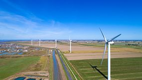 Aerial photo of wind turbines in Bouin, France stock photos
