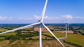 Aerial photo of wind turbines in a field Stock Image