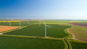 Aerial photo of wind turbines in the fields, Rye, Sussex royalty free stock photos