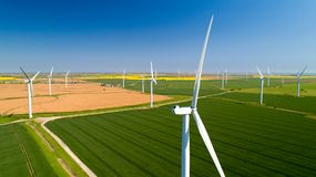 Aerial photo of wind turbines in the fields, Rye, Sussex royalty free stock photography