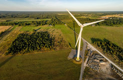 Aerial photo of windmill Stock Photos