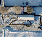 Aerial photo in winter, hall in the snow stock photography