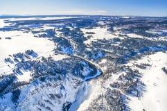 Aerial photo of Yellowstone Park stock photos