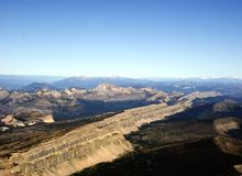 Aerial photograph. Aerial photo of the china Wall' in the Bob Marshall Wilderness in the USA Stock Image