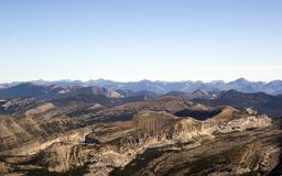 Aerial photograph. Aerial photo of cliffs in the Bob Marshall Wilderness in the USA Stock Photos