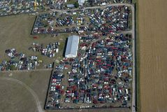 Aerial photograph. Aerial photo of a junkyard-a car parts recycle center Stock Photo