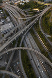 Aerial Photograph American Freeway Intersection. Aerial photograph of cars driving on an American freeway highway interstate road intersection junction Stock Photo