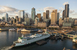 Aerial Photograph Seattle Skyline & Ferry Port Stock Photos