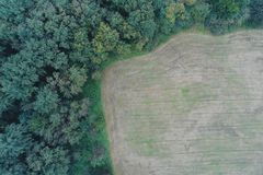 Aerial photograph of an arable land with fresh green at the edge of a forest with dense trees, much free area, copy space. Aerial photograph of an arable land Royalty Free Stock Photo