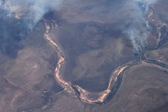 Aerial photograph of the bushfires in Australia royalty free stock photography