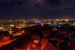 Aerial Photograph Of City During Nighttime Royalty Free Stock Photos