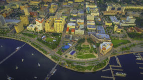 Aerial photograph of downtown west palm beach. Florida and parts of the yacht docks looking down clematis street Stock Photo