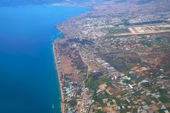 Aerial photograph of Lara beach and Antalya bay in background Royalty Free Stock Photography