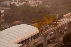 Aerial shot of metro track laying machine. Aerial photograph of a metro track laying machine working on an under construction track in Delhi, Lucknow, bangalore Royalty Free Stock Image