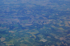 Aerial photograph of rural middle USA with river running though Royalty Free Stock Image