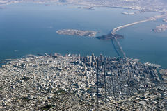 Aerial Photograph San Francisco. Aerial Photograph of downtown San Francisco and the Bay Stock Image