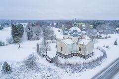 Aerial photograph of St Olga Church in Leisi Estonia stock photography
