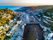 An aerial view of Looe in Cornwall, UK stock images