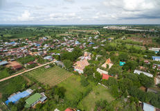 Aerial photograph Thai temple at countryside in thailand Stock Images
