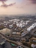 Aerial photographs of oil refineries plants, gas tank, oil tank, Chemical tank, refinery industry power investment business stock photo