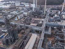 Aerial photographs of oil refineries plants, gas tank, oil tank, Chemical tank, refinery industry power investment business stock images