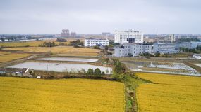 Aerial photo of the beautiful countryside of south China in autumn royalty free stock photography