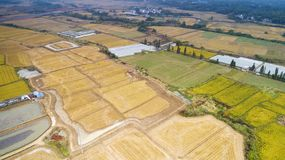 Aerial photo of the beautiful countryside of south China in autumn royalty free stock image