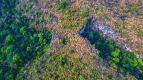 Aerial photography above amazing cave. Aerial photography landscape of Thanlod Yai cave to Thanlod Noi cave between two caves there have many waterfall along the Stock Image