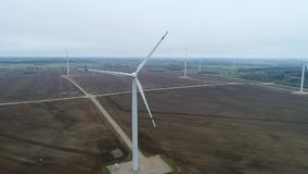 Wind generator,aerial photo, wind turbines stock video footage