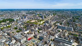 Aerial photography of Angers city center. Aerial view of Angers city in Maine et Loire Royalty Free Stock Photography