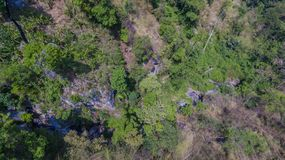 Aerial photography above amazing cave. Aerial photography a big hole in front of Thanlod Yai cave in Kanchanaburi Stock Photos