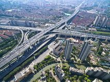 Aerial photography bird-eye view of City viaduct bridge road lan Stock Photography