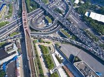 Aerial photography bird-eye view of City viaduct bridge road lan Stock Image