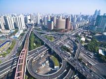 Aerial photography bird-eye view of City viaduct bridge road lan Stock Photo