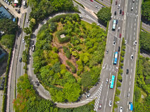 Aerial Photography Bird-eye View Of City Viaduct Bridge Road Lan Stock Photography